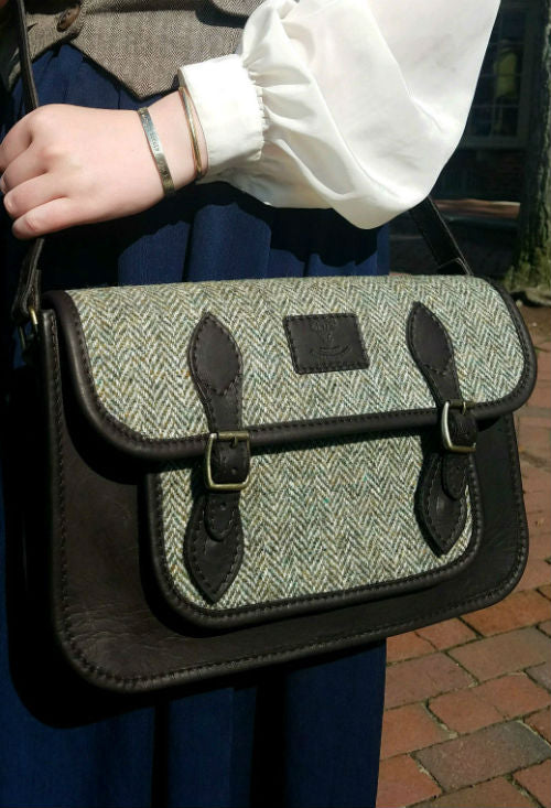 Scottish Harris Tweed & Leather Messenger Bag