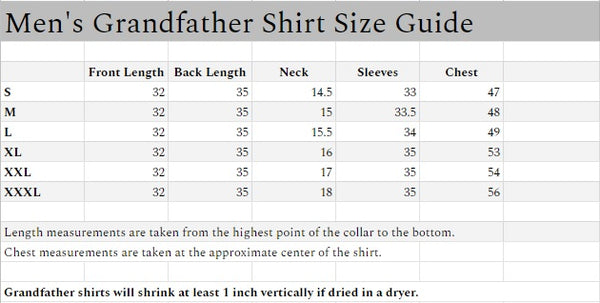 This chart shows the measurements in inches for Civilian's Irish Grandfather shirts