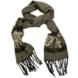 black, grey, beige & taupe wool & chenille scarf with ram design