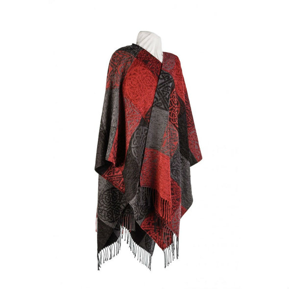 red & grey chenille & wool women's shawl with tassles