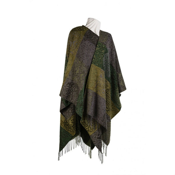 green & grey chenille & wool women's shawl with tassles