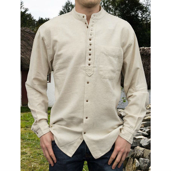 Irish grandfather shirt, cotton & linen, cream color