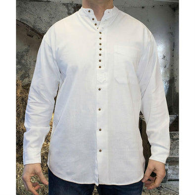 Irish grandfather shirt, cotton & linen, white