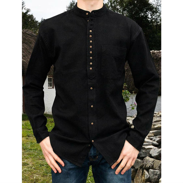 Irish grandfather shirt, cotton & linen, black