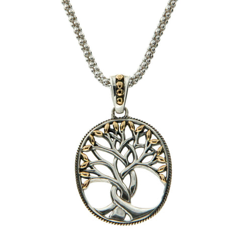 """Tree of Life"" Oval Pendant — Sterling Silver & 18k Yellow Gold"