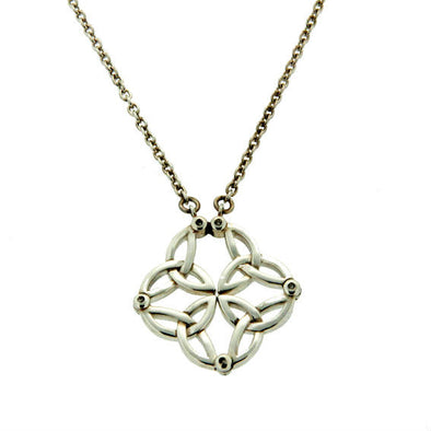 silver & diamond Celtic knot pendant