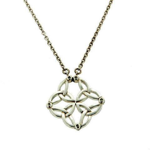 """Synergy"" Celtic Knot & Trinity Knot Necklace — Sterling Silver & Diamond"