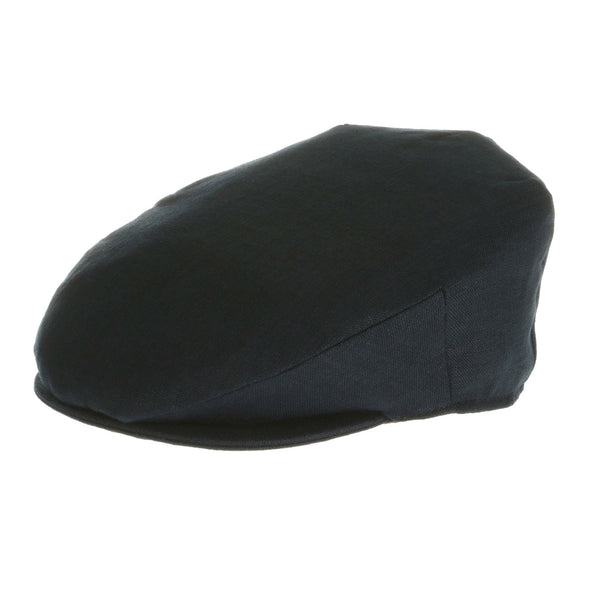 navy blue Irish linen flat cap for men