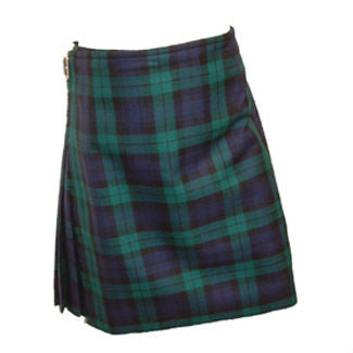blue, green and black tartan plaid men's kilt