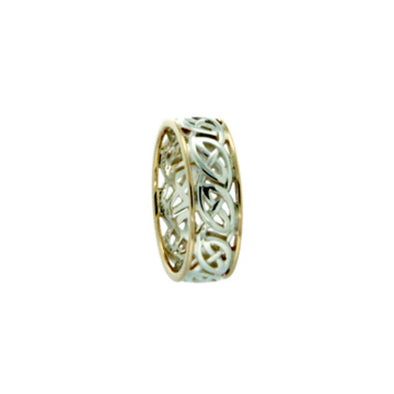 silver Celtic eternity knot band with yellow gold trim