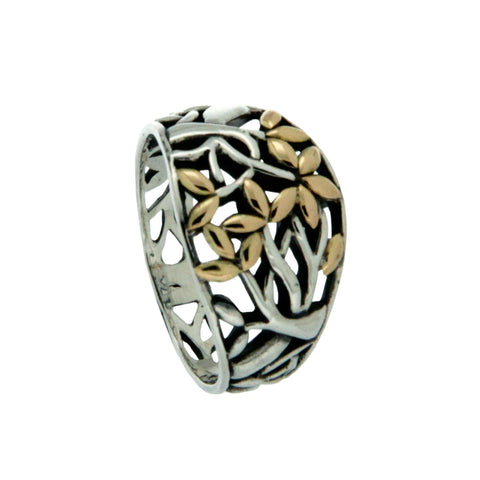 "Celtic ""Tree of Life"" ring in sterling silver & 18k yellow gold"