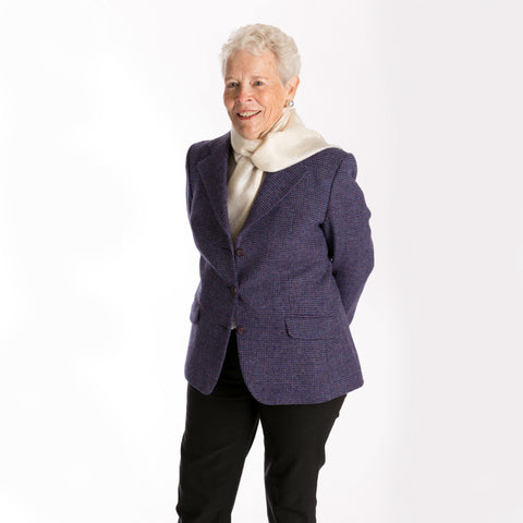 women's purple 3-button Harris Tweed blazer