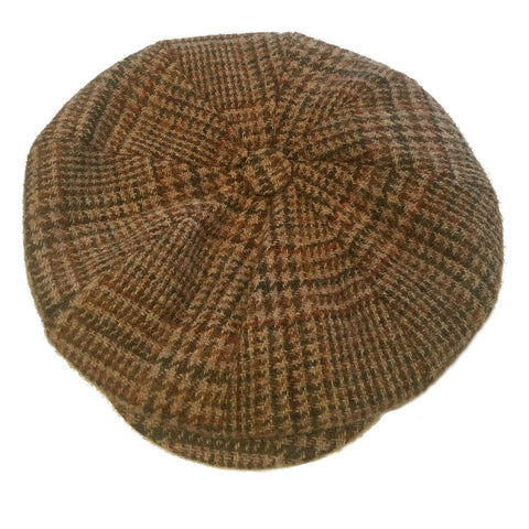 brown & green Harris Tweed newsboy eight-panel cap for men