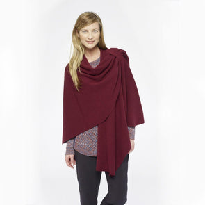 Merino wool shawl wrap with shoulder loop, burgundy