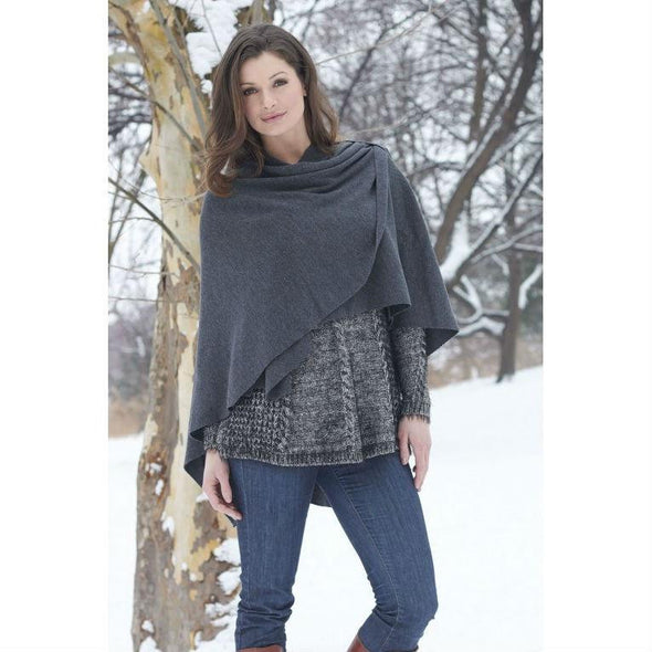 Merino wool shawl wrap with shoulder loop, charcoal grey