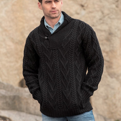 Shawl Collar Aran Sweater