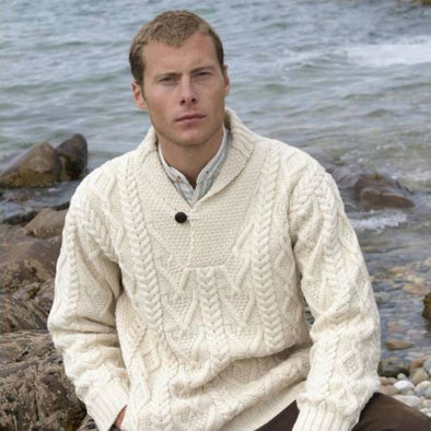 men's Merino wool shawl collar sweater in cream color