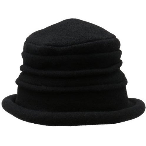 women's black wool cloche hat