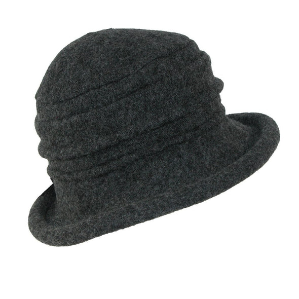 women's grey wool cloche hat