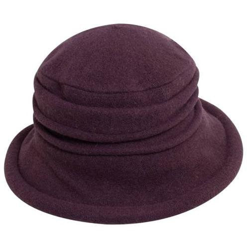 women's purple wool cloche hat