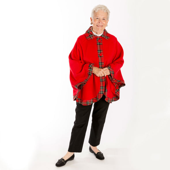 red wool blend cape with tartan plaid trim, Royal Stewart modern