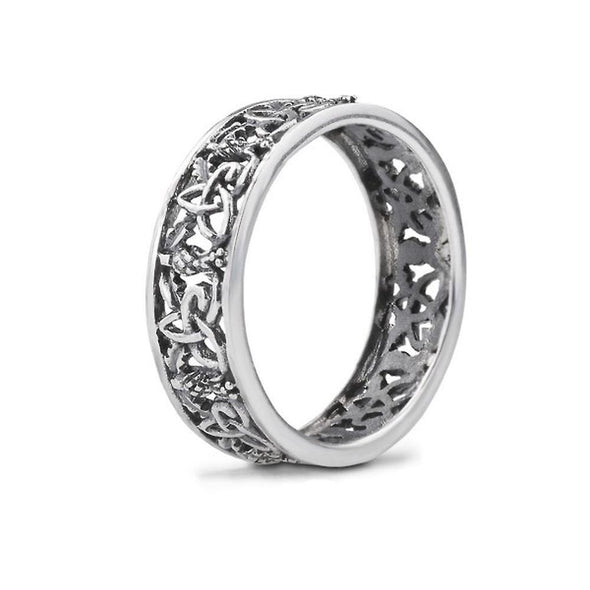 Outlander-inspired sterling silver ring with trinity knot & thistle filigree
