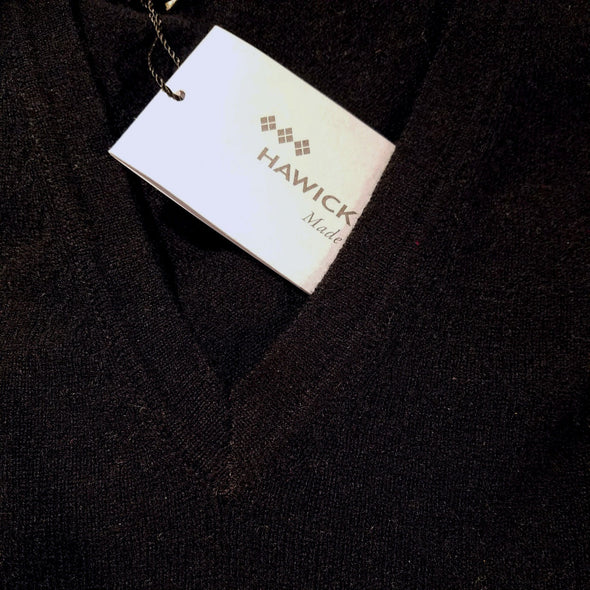 black cashmere v-neck sweater, made in Scotland, unisex