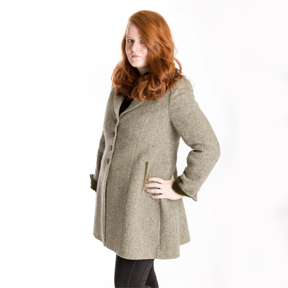 beige & green herringbone Harris Tweed wool long coat, women's