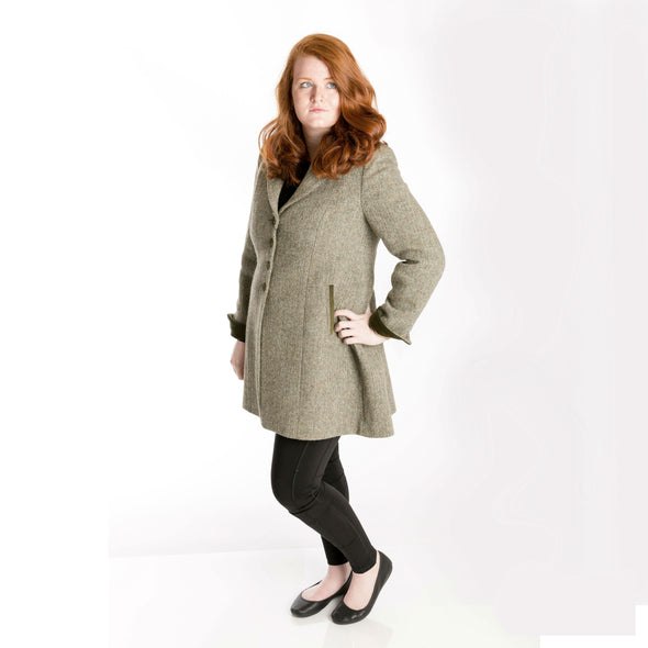 Tara 3/4 Length Harris Tweed Coat in Earthtone Herringbone