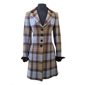 """Tara"" 3/4 Length Harris Tweed Coat in Earthtone Herringbone"