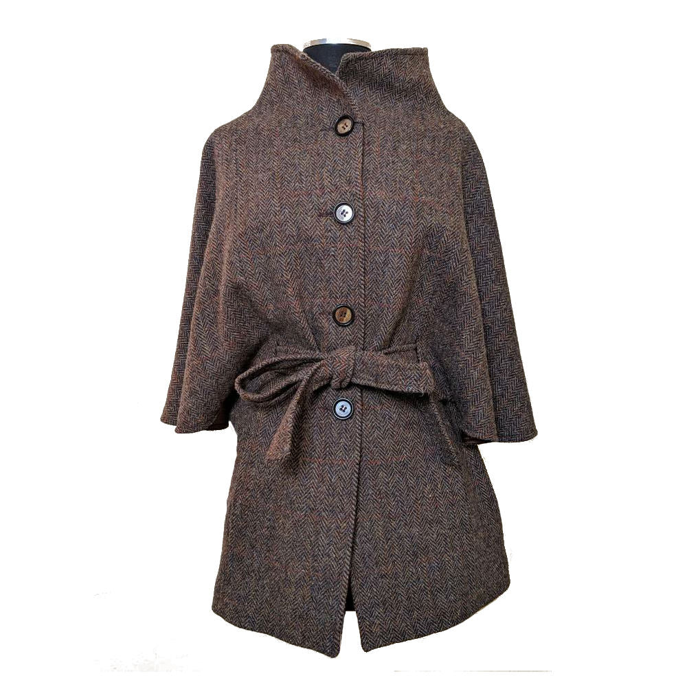 good texture top-rated authentic factory price Harris Tweed Belted Cape