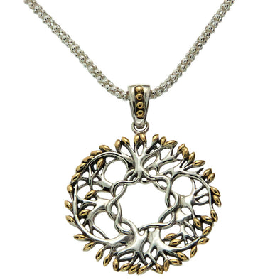 "circular gold & silver ""tree of life"" Celtic necklace"