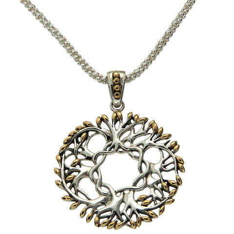"""Tree of Life"" Circle Pendant, Large — Sterling Silver & 18k Yellow Gold"