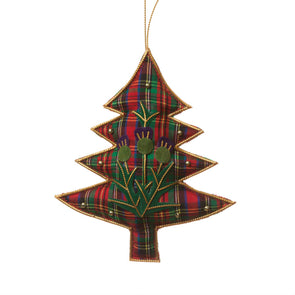 Tartan Christmas Tree with Thistles Ornament
