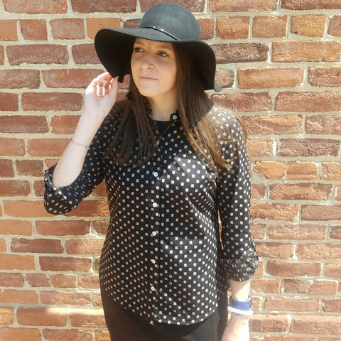 Foxcroft Blouse in Black with Camel Square Print