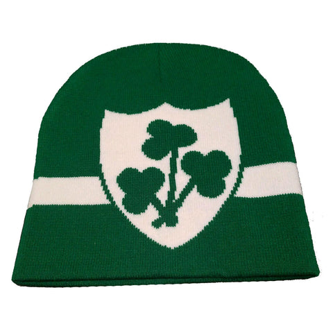 Ireland-themed green beanie with shamrock design
