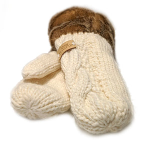 Knit Mittens with Faux Fur