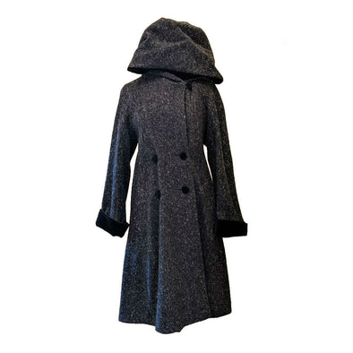 Hooded Velvet Collar Tweed Overcoat