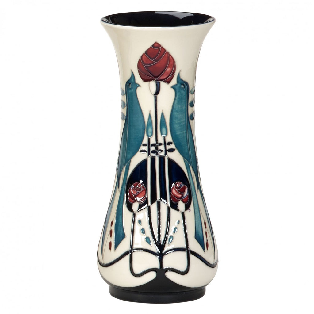 tall narrow Moorcroft Pottery vase with white, blue, red & black design