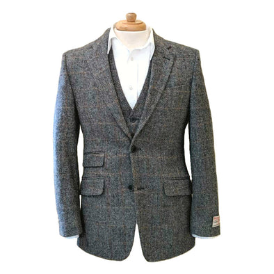 Harris Tweed Jacket | Grey w/ Cinnamon Check