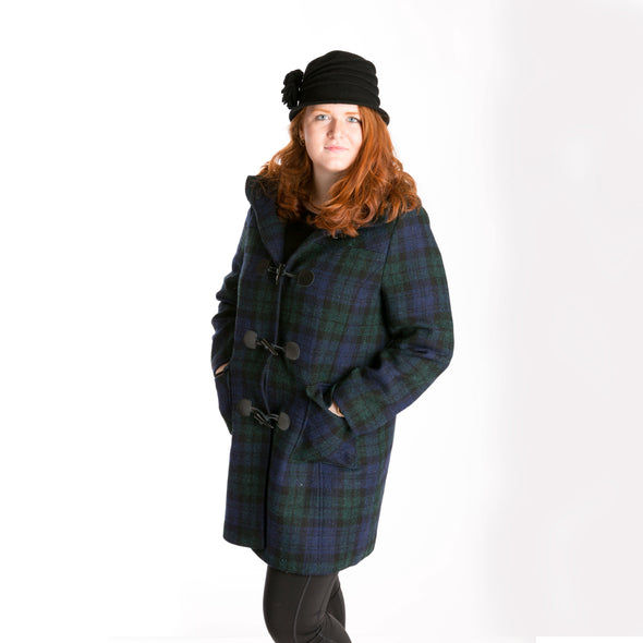 women's wool duffle coat in black, blue & green tartan plaid