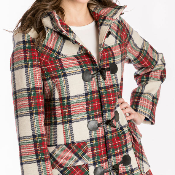 women's wool duffle coat in red & white tartan plaid