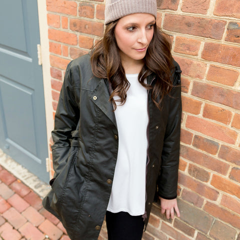 women's waxed cotton jacket in olive green