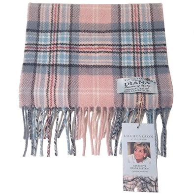 rose pink, blue, red and black tartan plaid scarf