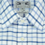 men's cotton Oxford button-down dress shirt in blue check