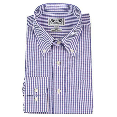 Oxford Button-Down Dress Shirt — Navy & Pink Gingham — Scotland House, Ltd.