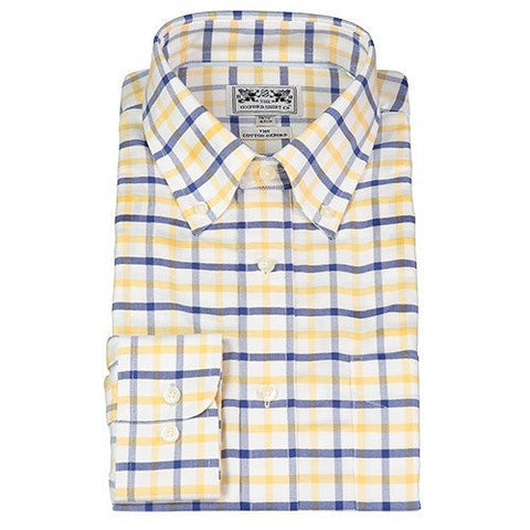 Oxford Button-Down Dress Shirt — Navy & Yellow Check — Scotland House, Ltd.