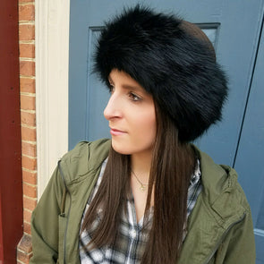 black faux fur headband for women