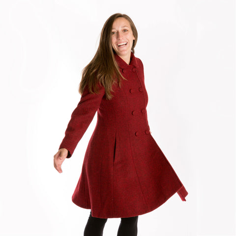 red Harris Tweed wool long coat for women
