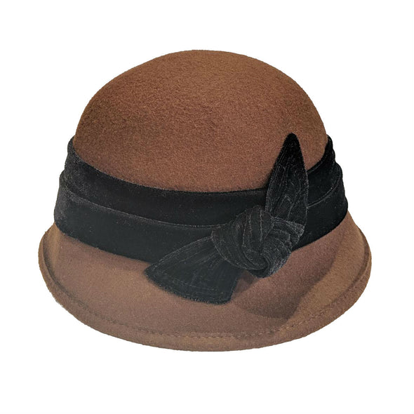 Brown Wool Cloche Hat with Black Velvet Band and Bow